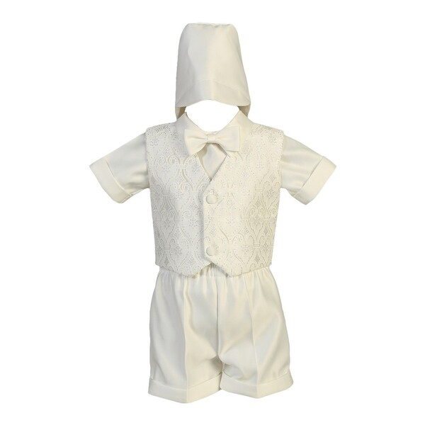 b52e17b2e Shop Baby Boys White Glittered Tulle Vest Satin Shirt Shorts Baptism Set -  Free Shipping On Orders Over $45 - Overstock - 23087275