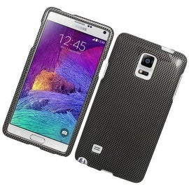 Insten Grey/ Black Carbon Fiber Hard Snap-on Rubberized Matte Case Cover For Samsung Galaxy Note 4