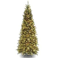9 ft. Tiffany Fir Slim Tree with Clear Lights - green
