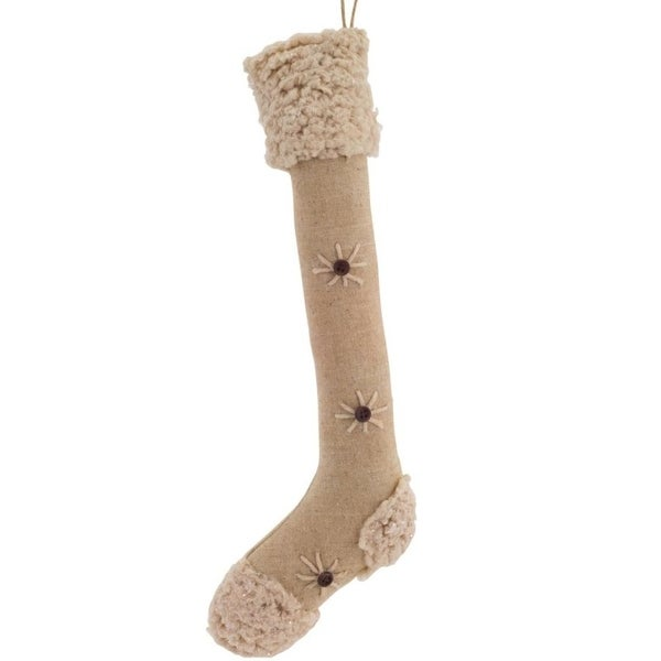 Pack of 12 Decorative Polyester Tan Slim Stocking Ornament