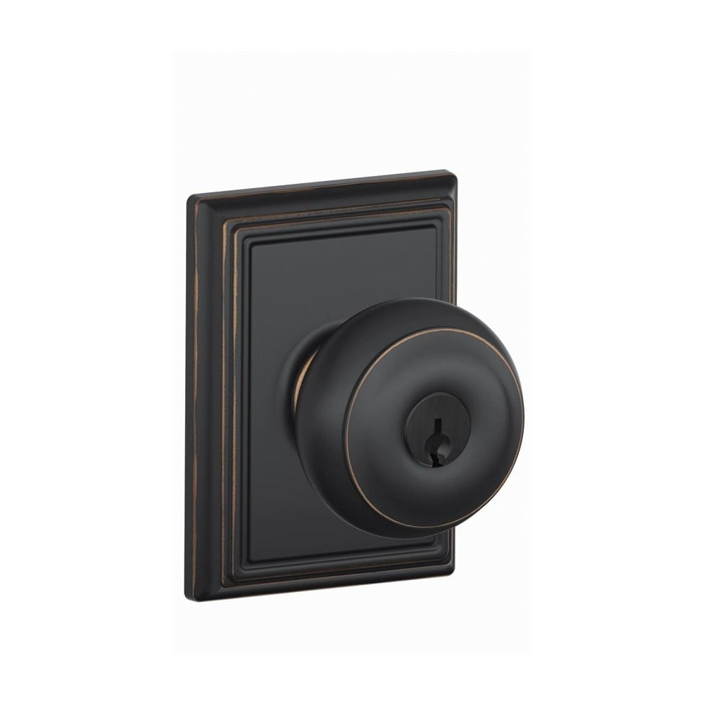 Schlage F51-GEO-BRK Georgian Keyed Entry Panic Proof Door Knob Aged Bronze