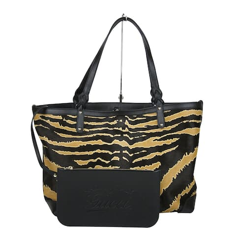 929b512ee379b8 Gucci Craft Zebra Printed Multi-Color Leather / Calf Hair Tote Bag With  Pouch 247209