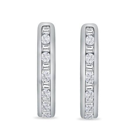 10K White Gold 1/4ct TDW Round and Baguette Diamond Huggie Hoop Earrings (I-J, I1)
