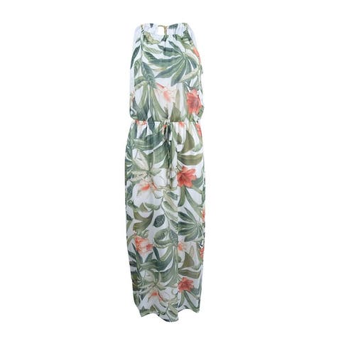 Connected Women's Printed Chain-Link Maxi Dress - Ivory