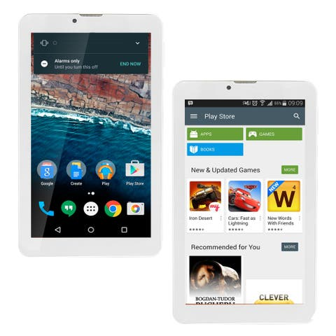 7-inch Android TabletPC & SmartPhone by Indigi® - YouTube & Web Browsing DualCore 4GB(microSD Expandable), White