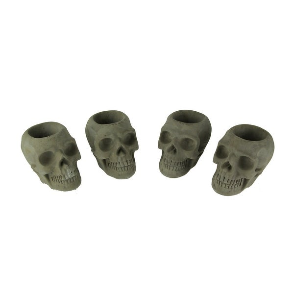 Grey Molded Concrete Indoor Outdoor Skull Planters Set of 4 - 3.5 X 4.5 X 3.25 inches