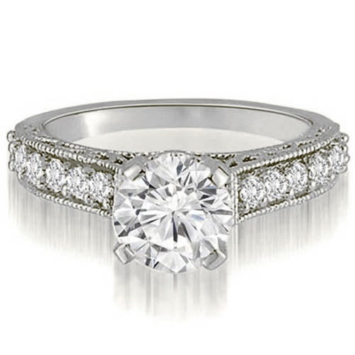 0.85 cttw. 14K White Gold Antique Milgrain Round Cut Diamond Engagement Ring