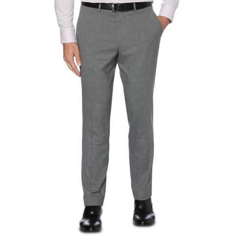 Perry Ellis Portfolio Mens Dress Pants Slim Fit Heathered Check - CastleRock