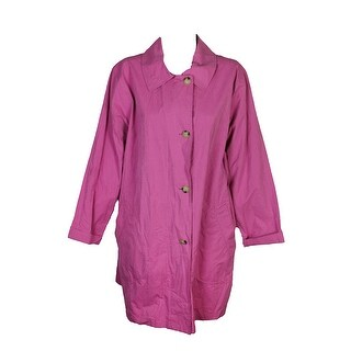 Lauren Ralph Lauren Plus Size Pink Taffeta Pea Coat 3X
