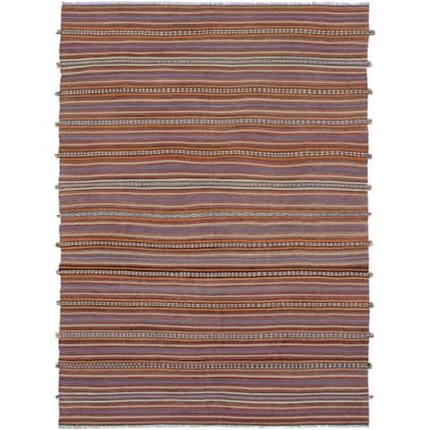 ECARPETGALLERY Flat-weave Bohemian Red Wool Kilim - 4'4 x 10'4