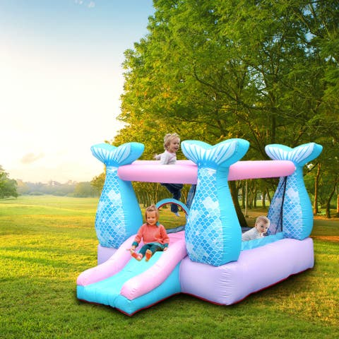 Outdoor Indoor Bounce House Slide Mermaid Inflatable Castle 420D Oxford Blower Included - Mermaid