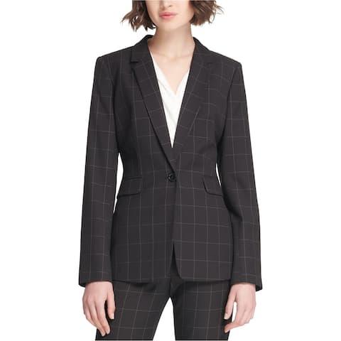 DKNY Womens Windowpane One Button Blazer Jacket, Black, 10
