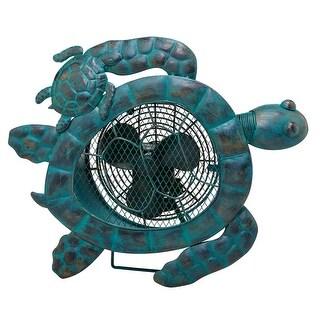 19 Antique Green Distressed Metal Sea Turtle Tabletop Figurine Fan