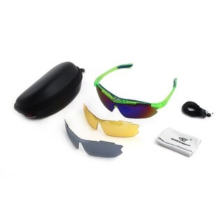 ROBESBON Authorized Outdoors Exchangeable Lens Cycling Glasses Set Green Blue