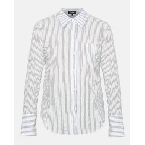 Theory Women's Top White Size Medium M Button Down Shirt Striped
