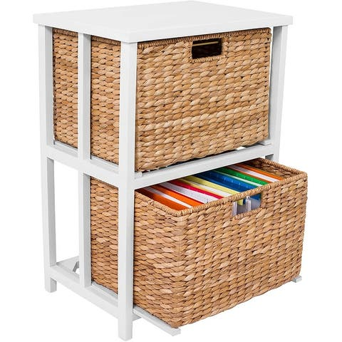 BirdRock Home Seagrass 2 Tier File Cubby Cabinet - Vertical Storage Furniture - Delivered Fully Assembled