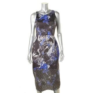 State of Being Womens Laser Cut Scuba Wear to Work Dress - L