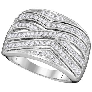 10kt White Gold Womens Round Natural Diamond Band Fashion Ring 1/2 Cttw