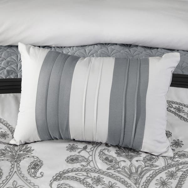 Oquirrh Furnishings Breeann Polyester Microfiber 7pc Comforter Set Grey Queen