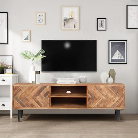 ExBrite Solid Wood Media Console Herringbone 2 Doors & Metal Legs for TV Table Bench Stand - 59'' x 15'' x 19''