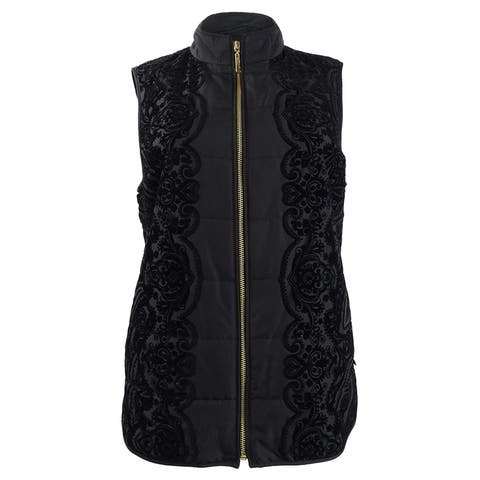 Charter Club Women's Velvet-Flocked Vest (XS, Deep Black)