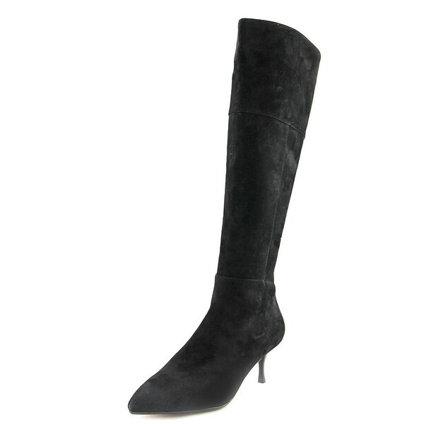 Nina Filomene Women Pointed Toe Suede Black Over the Knee Boot