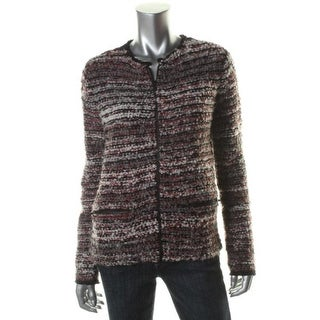 Private Label Womens Wool Blend Contrast Trim Full Zip Sweater - XL