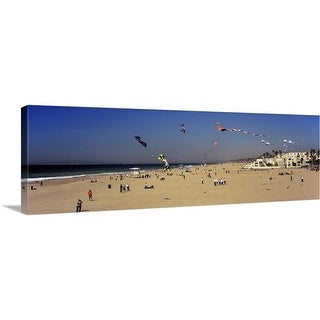 """Tourists on the beach Huntington Beach Orange County California"" Canvas Wall Art"