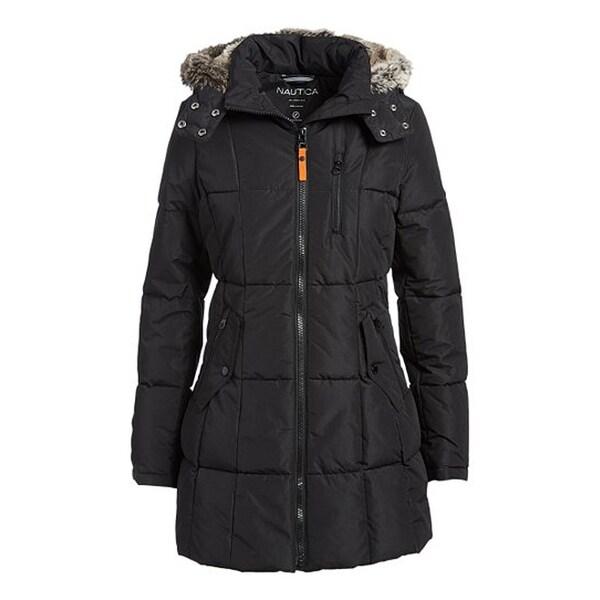Nautica Women's Faux Fur Hood Puffer Coat, Black, S. Opens flyout.