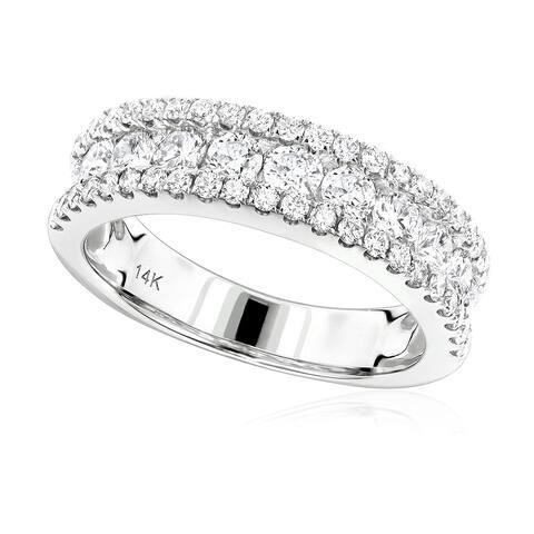 Ladies Wedding Band Round Diamond Ring 1.65ctw in 14k Gold by Luxurman