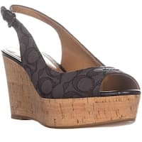Coach Ferry Peep Toe Slingback Espadrille Wedge Sandals, Black Smoke/Black - 9.5 us