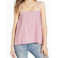 Leith Red Striped Women's Size Small S Tank Cami Linen Top