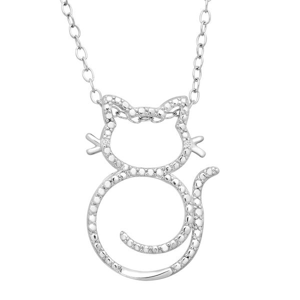 Cat Swirl Pendant with Diamonds in Sterling Silver