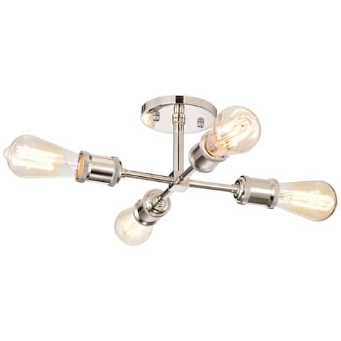 "4-Light Polished Nickel Sputnik Semi-Flush Mount - Polished Nickel - W11-3/4"" x E11-3/4"" x H5-3/4"""