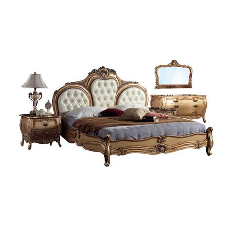 """86"""" Gold and White French European Hand Carved Queen Bedroom Set"""