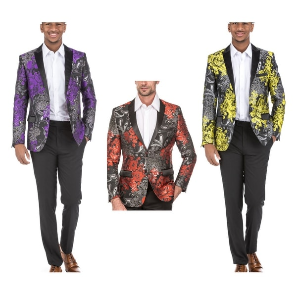 Men's Dress Suit Jacket Floral Luxury Jacquard Blazer. Opens flyout.
