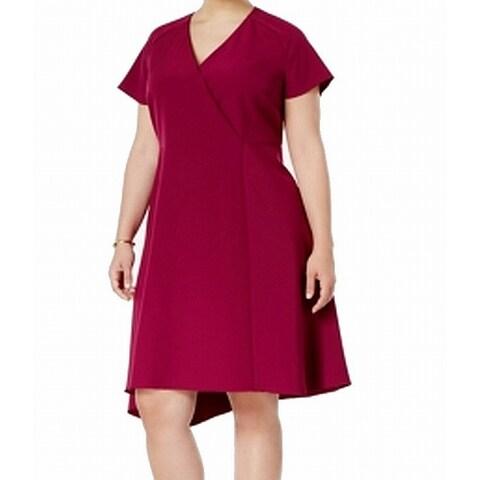 Anne Klein Purple Womens Size 18W Plus Asymmetrical Sheath Dress