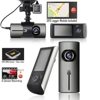 "Indigi Car DVR Dash CAM + 2.7"" LCD + Dual lens (Front & Back) + G Sensor Motion Detection + GPS Module"