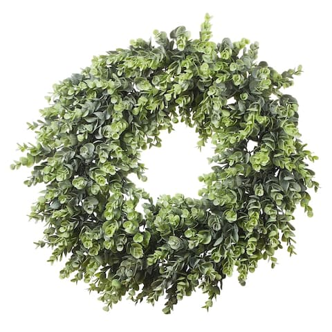 """Enova Home 16"""" Artificial Eucalyptus Leaves Wreath for Festival Celebration Front Door Wall Window Party Decoration"""