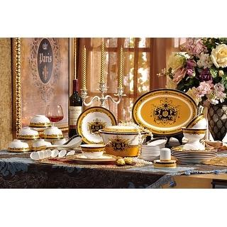Luxury Design fine bone china dinnerware set 58 piece service for 6 includes tea set