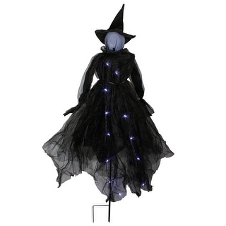 "60"" LED Lighted Black Witch Outdoor Halloween Decoration"