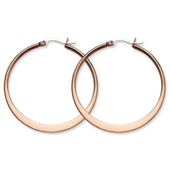 Chisel Stainless Steel Brown IP 43mm Hoop Earrings