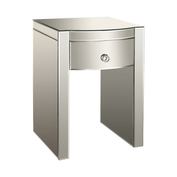 "26"" Silver Wood 1-Drawer Bow-Front Mirrored Nightstand - N/A"