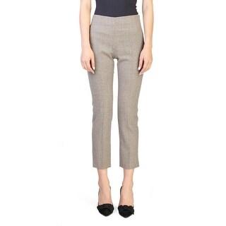 Prada Women's Virgin Wool Plaid Print Pants Brown