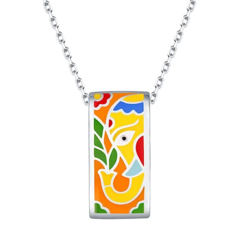 Vedantti Madhubani Art Elephant Multi Color Enamel Rectangle Necklace