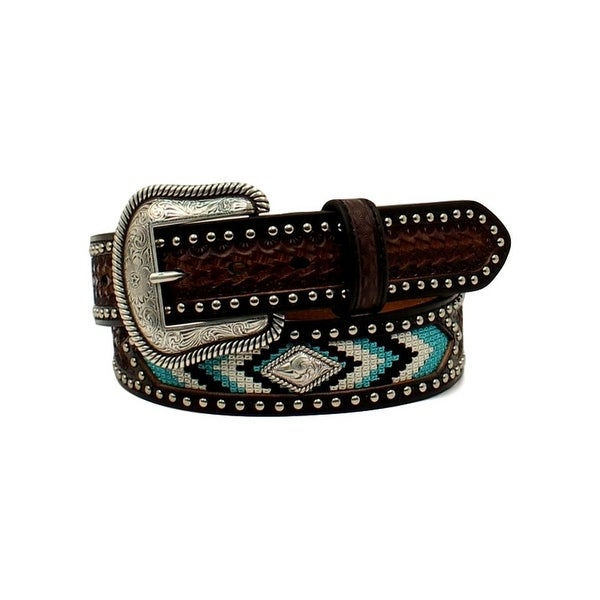 Nocona Western Belt Mens Diamond Concho Nailheads Brown