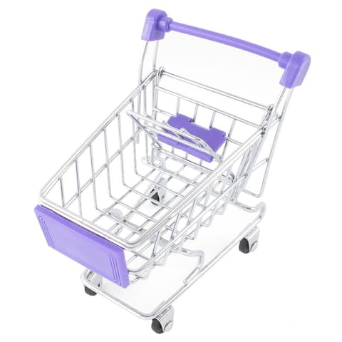 Sky Blue Movable Mini Shopping Cart Handcart Model Toy Mobile Phone Holder