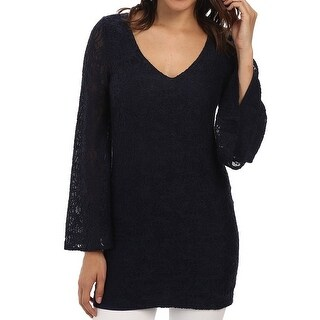 Chaser NEW Blue Women's Size Small S Tunic Lace Bell-Sleeve Top