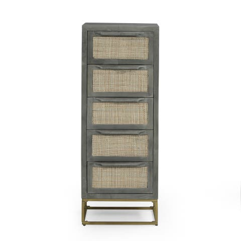 Wolfe Indoor Mango Wood and Wicker Handcrafted 5 Drawer Cabinet by Christopher Knight Home