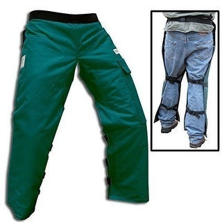 "Forester Chainsaw Safety Chaps with Pocket, Apron Style Short 35"", Forest Green"